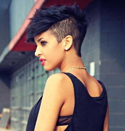 Trendy Side Shaved Short Dark Hairstyles