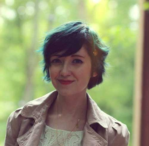 Wavy Colored Hair Pixie Cut