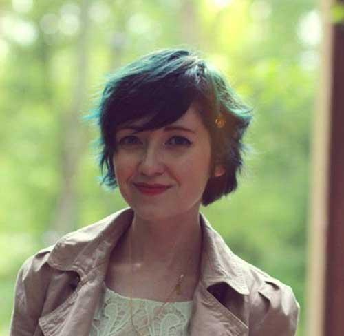 Wavy Colored Hair Pixie Cut