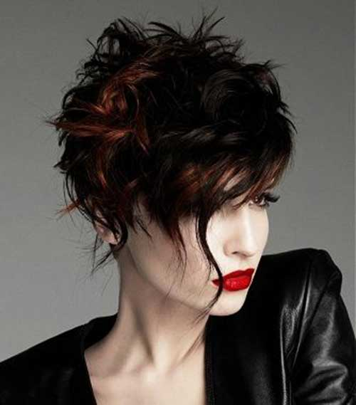 Wavy Hair Asymmetrical Pixie Cut