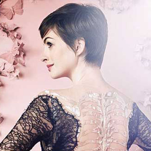 Anne Hathaway Pixie Cut Side View