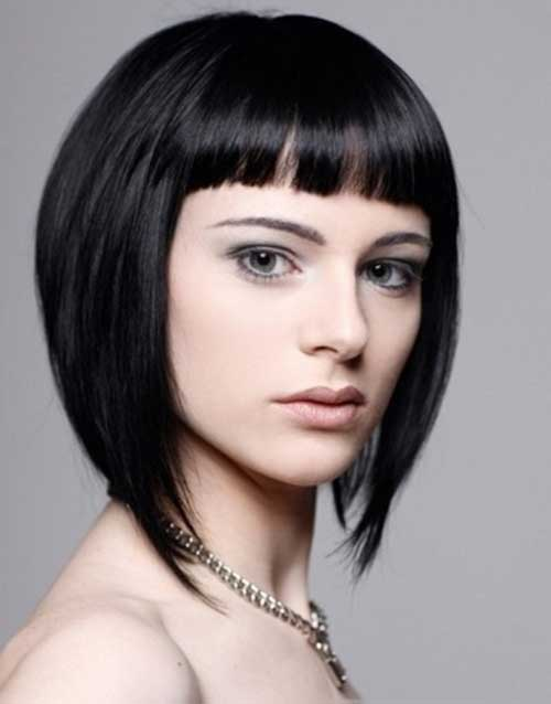 Baby Bangs Dark Bob Hairstyles