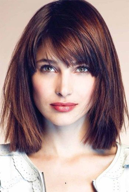 Shoulder Length Straight Hair With Side Bangs Haircuts For Fine