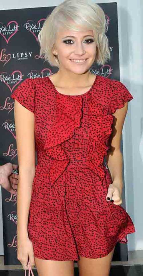 Pixie Lott Side Swept Short Hairstyles