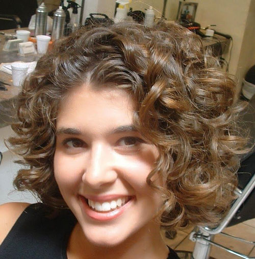 Best Short Curly Brown Hair for Round Faces