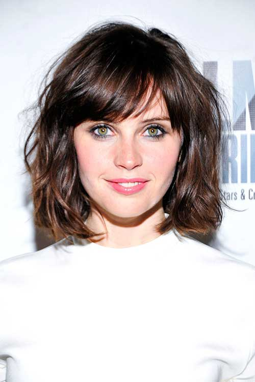 Best Thick Wavy Short Hair with Side Bangs
