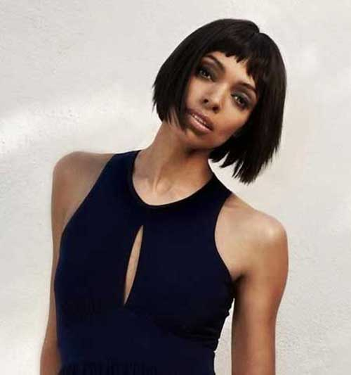 French Bob Cuts with Bangs for African American Women