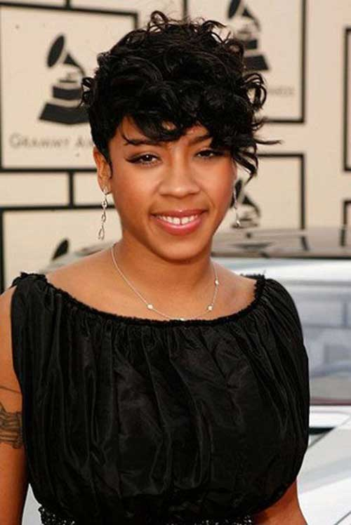 Short Curly Black Hairstyles Asymmetrical Bangs