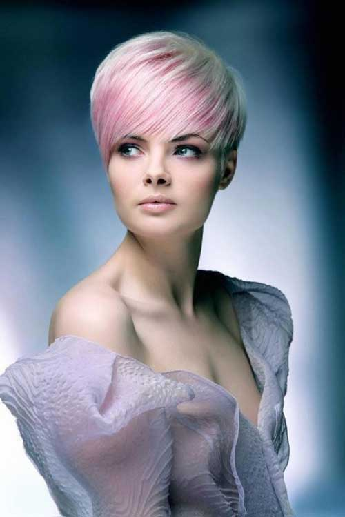 Short Hair Color with Pink Highlights