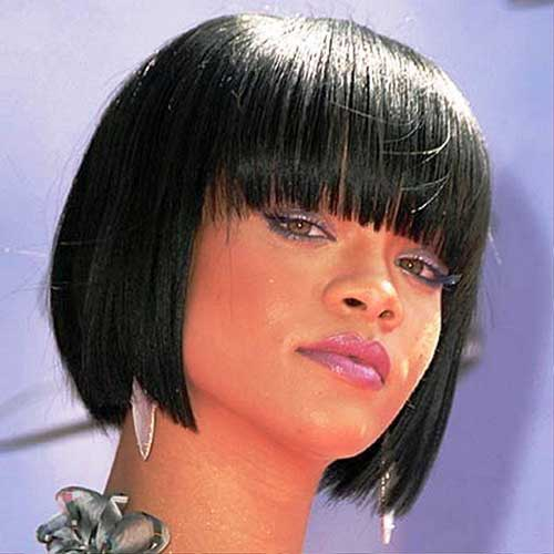 short hairstyles with bangs for black women short