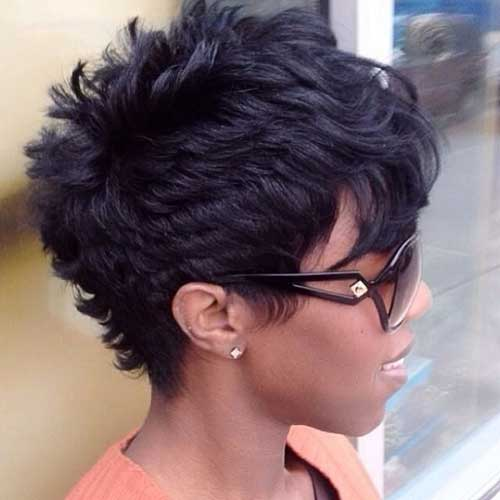 Short Hairstyles with Pixie Bangs for African American Women