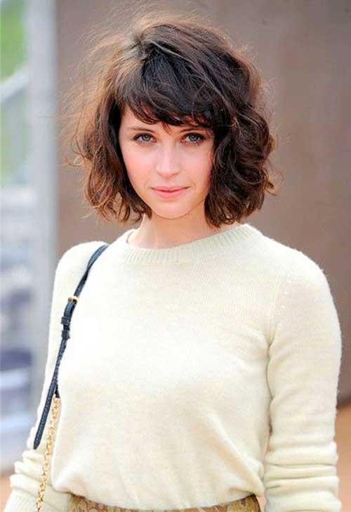14.Curly Hairstyle with Bangs