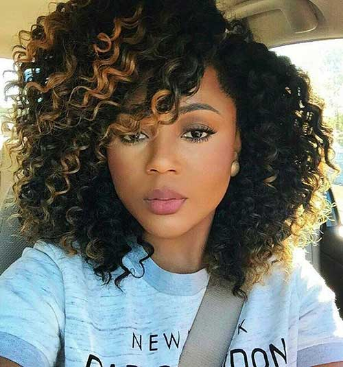 18.Short Curly Weave Hairstyle