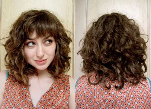 Short Curly Haircut with Bangs