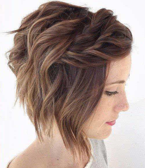 Layered Hairstyle for Short Hair with Braid