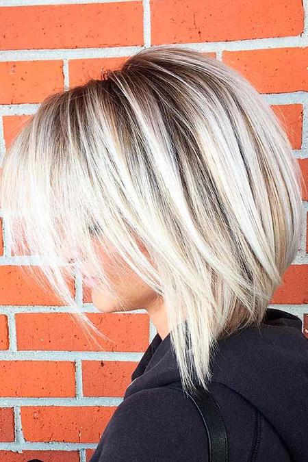 Short To Medium Leght Hair, Blonde, Stacked, Medium