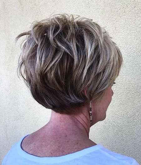 Hairstyle for Over 60, Bob, Pixie, Blonde, Over, Layered