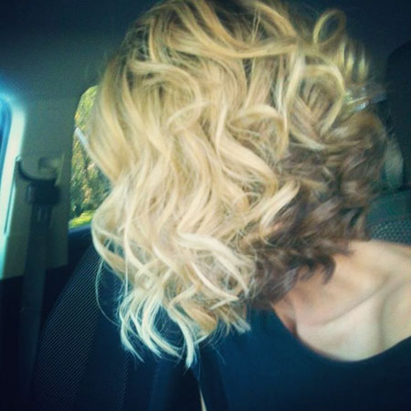 Curly, Blonde Bob