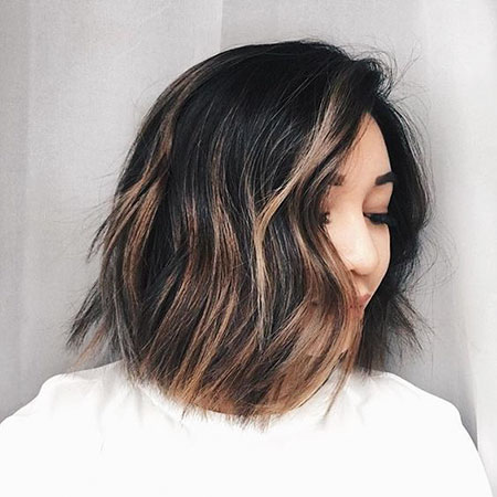 Balayage Brown Bob Dark Highlights Color Choppy , Balayage Brown Bob