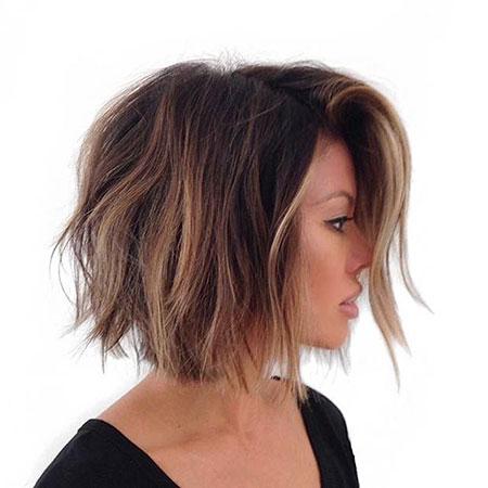 Balayage Bob Color Choppy 2017 Woman Low De Dark, Choppy Hair