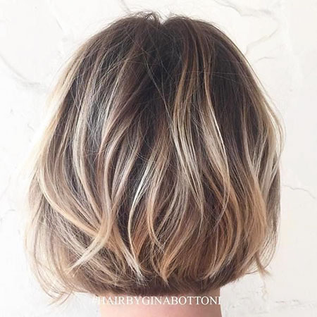 Blonde Highlights on Short Brown Hair, Balayage Brown Bob Blonde
