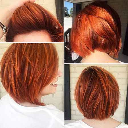 Stacked Bob Hair, Red Hair Copper Stacked