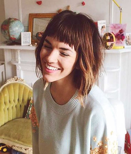 Short Hairtyles with Color, Shaggy Hair Bob Bangs