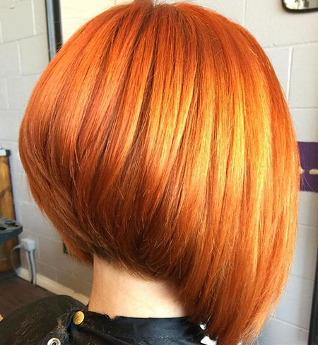 Red Stacked Bob Hair