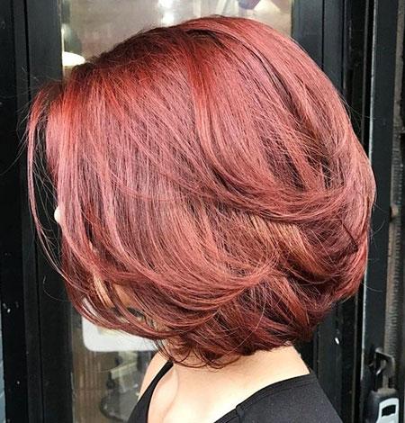 Auburn Hair Color, Bob Hair Layered Auburn
