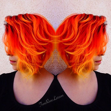 Hair Red Orange Ombre