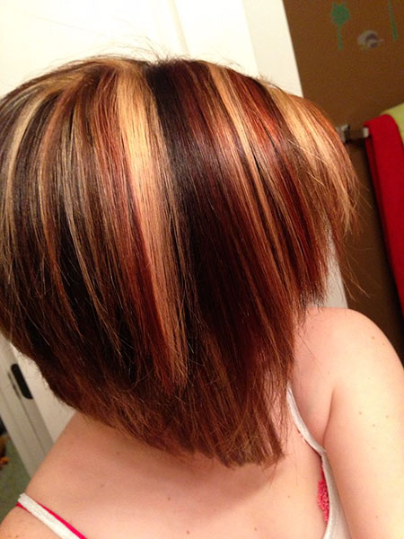 Blonde Red Bob Highlights