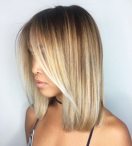 Blonde Balayage Bob Straight