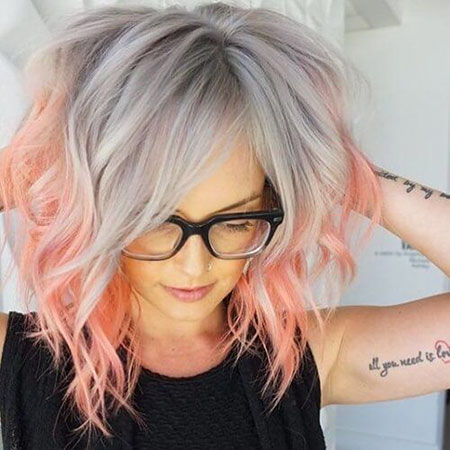 Hair Pink Grey Color