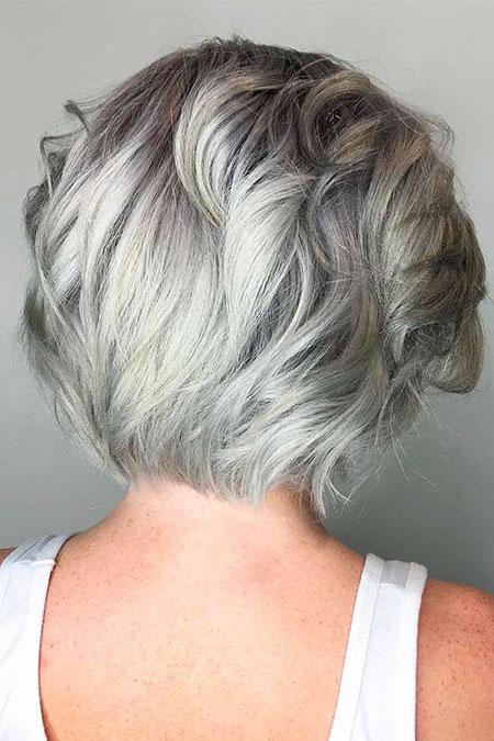 Silver Hair Color, Silver Gray Choppy Bob