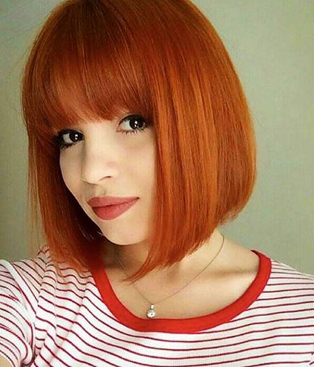 Cute Hair, Bob Hair Orange Color