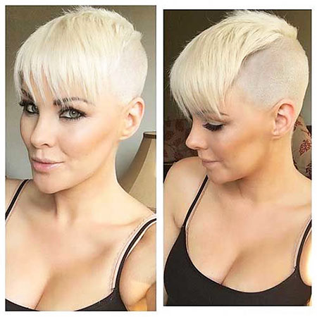 Blonde Women Undercut Short
