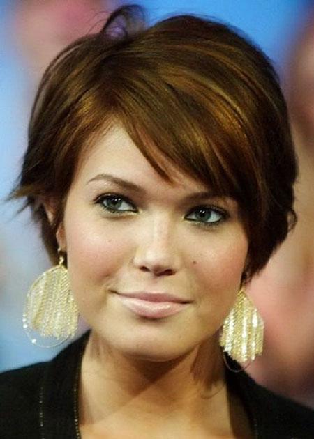 Brown Hair Color, Short Round Hair Haircuts