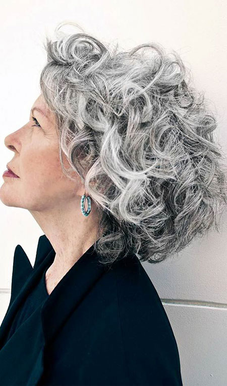 Curly Short Hair Gray