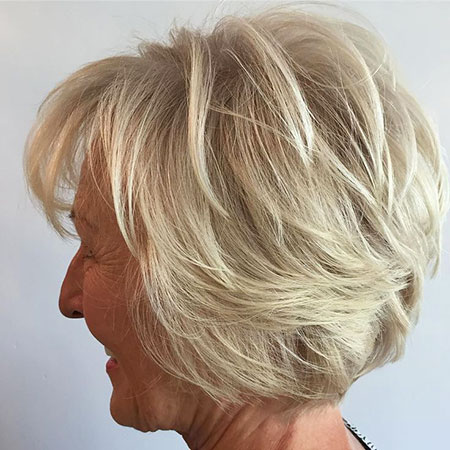 Bob Layered Blonde Older