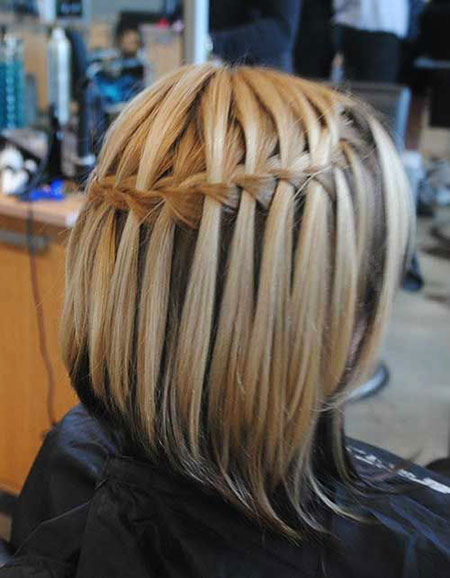 Waterfall Braid Short Hair, Short Cute Girls Hairtyles