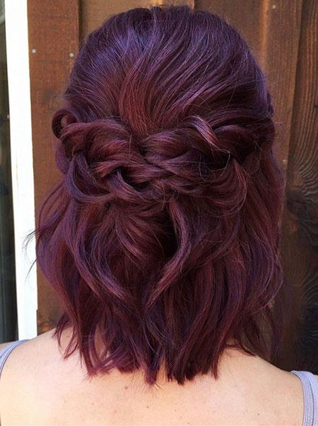 Hair Length Burgundy Color