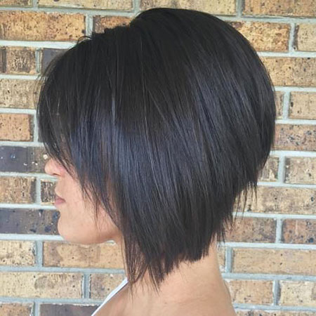 Stacked Bob Hair, Bob Stacked Angled Brunette