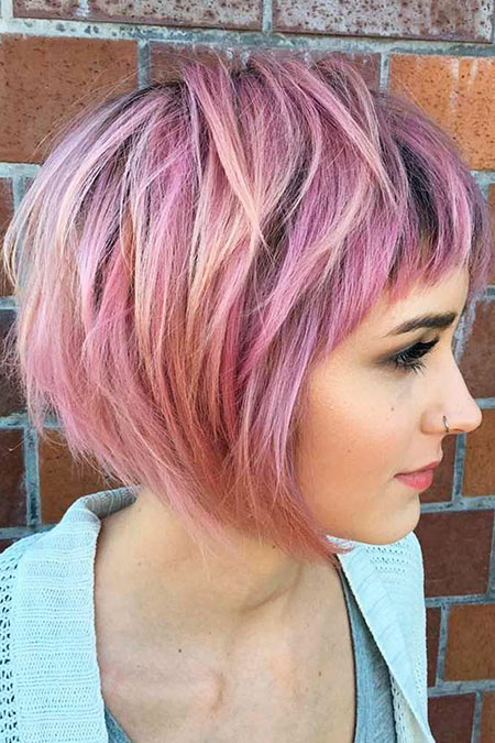 Pink Hair, Bob Short Layered Pink