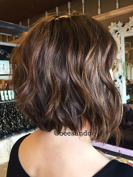 Layered Haircut, Thick Short Bob Balayage