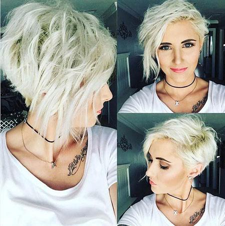 Messy Hair, Pixie Short Messy Blonde