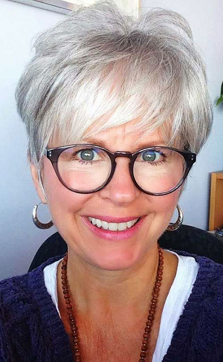 Short Haircut for Women Over 50, Short Pixie Gray 70