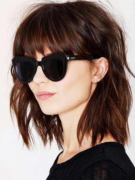 Short Wavy Hairtyle with Bangs, Hair Thin Bangs Girls