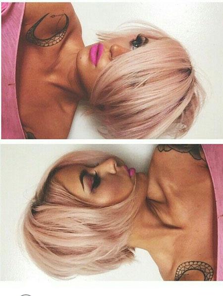 Hair Gold Bob Pink