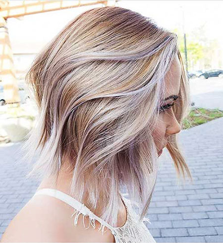 Blonde Balayage Hair Lob