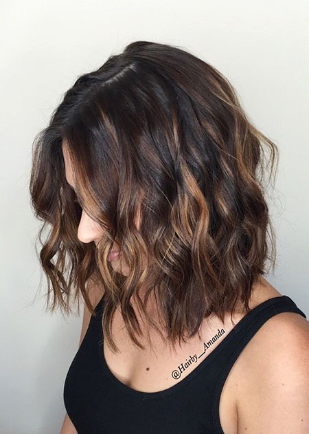 Balayage Hair Lob Brown